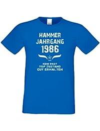 Tolles Geschenk-Set für Männer : Herren T-Shirt Hammer Jahrgang 1986 und Urkunde - Geschenk zum 31. Geburtstag : Geburtstagsgeschenk Übergrößen - 5XL Farbe: royal-blau