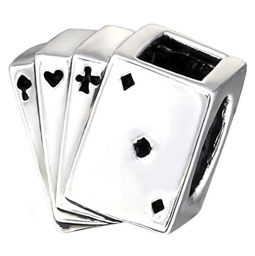 So Chic Joyas - Abalorio Charm tarjetas de juego de 4 Aces Square - Compatible con Pandora, Trollbeads, Chamilia, Biagi - Plata