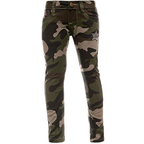 Mädchen Chino Hose Camouflage mit verstellbaren Bund und Nieten 21880, Farbe:Braun, Größe:116