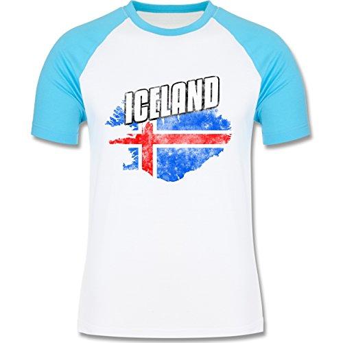 Shirtracer Fußball-WM 2018 - Russland - Iceland Umriss Vintage - Herren Baseball Shirt Weiß/Türkis
