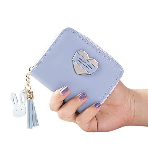 Geldbörse Damen Leder, Frauen Love Kurze Geldbeutel Portmonaie Portmonee Teenager Mädchen Mode Ledergeldbeutel Ledergeldbörse Portemonnaie Mini Kleine Frische Brieftasche Sale (Light-Blue)