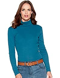 M&Co Ladies Long Sleeve Roll Neck Cotton Rich Top