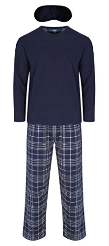 Harvey James Männer Plain Top & Checked Unterseiten Thermo Fleece Pyjama Set (L) Blau (Set Fleece Pyjama)