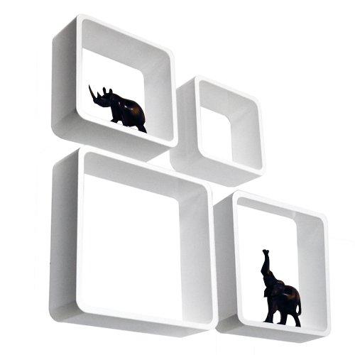 CUBE - Cube étagère murale de rangement - lot de 4 - blanc