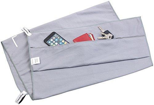 PEARL Sporthandtuch: Mikrofaser-Sport-Handtuch mit Lehnen-Überzug und Tasche, 50 x 100 cm (Fitnesshandtuch), grau, 50x100