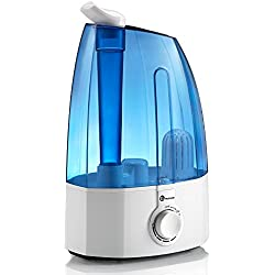 TaoTronics Humidificador Ultrasónico 3,5L Humidificador Bebé de Vapor Frío, Control Clásico Dial, 30W, Gran capacidad, filtro Extra de cerámica fina, 360° rotativo