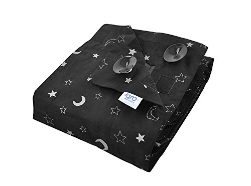 Gro - Gro Anywhere Blind, tragbares Verdunklungsrollo - Sterne, schwarz, 130 x 198 cm