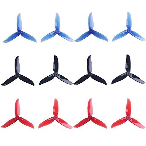 DroneAcc 12pcs 5045 3-Garb-unassuming it out bag out at Propeller 5 Inch Tri Bayonet Props for 2204 2205 2206-2306 Brushless Motors FPV Racing Drone Quadcopter ( Transpicuous-Red,Blacklist,Na-Dip)