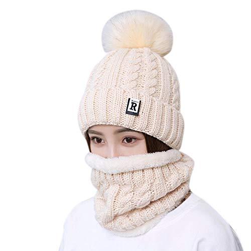 NPRADLA 2018 2 Stücke Damen Winter Warm Gestrickte Venonat Beanie Mütze + Schal Warm Halten Set(One Size,Beige) (49ers Armband)