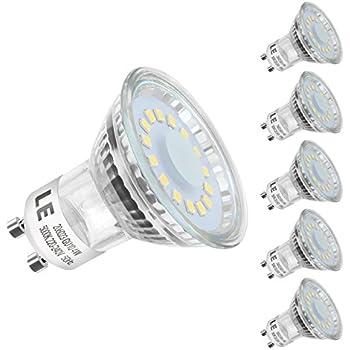 LE Bombillas LED, GU10 4W Equivalente 50W Halógena Blanco frío Luz de Día 5000k, Pack de 5
