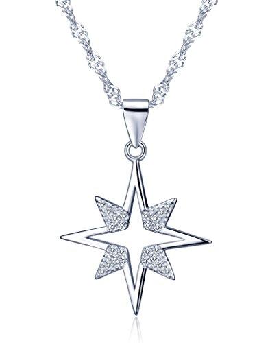Unendlich U Cool Einzigartig Stern Damen Halskette 925 Sterling Silber Zirkonia Anhänger Kettenanhänger, Silber