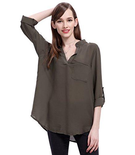 LaoZan Femme Chemise de mousseline de soie Manches longues Chic Col V T-shirt Tops Chemisier Hauts Tops armée verte