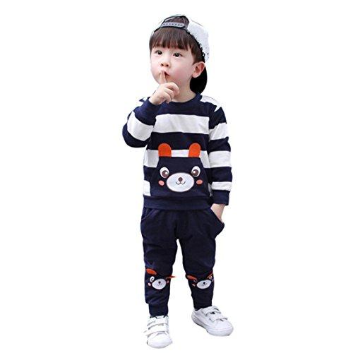 Kinderbekleidung Kinder Set Winter Btruely Unisex Langarm Baby Clothes Set Pullover + Hosen Outfits Gestreifter Bär Kleinkind Säugling Baby Set (120, Marine) (Set Bär Schwarzer Pyjama)