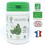 Ginkgo Biloba bio | 60 gélules | Complément alimentaire | Mémoire | Bioptimal - nutrition naturelle | Fabriqué en France