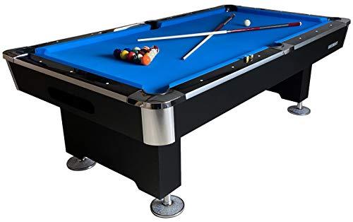 Buckshot Billardtisch 8ft Lemans 2 Leg (Blau/Schwarz) Pool mit Schieferplatte inklusive Zubehör - (240 x 130 cm)