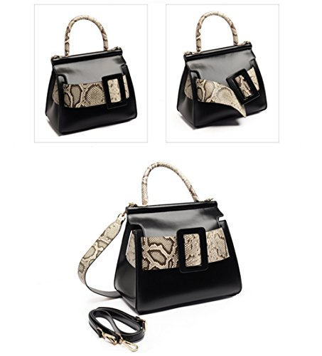 Xinmaoyuan Damen Lederhandtaschen Gürtelschnalle dekoriert Handtasche Farbe Mode Sport Querschnitt quadratischen Schulter Tasche, Weiß Schwarz mit Serpentine
