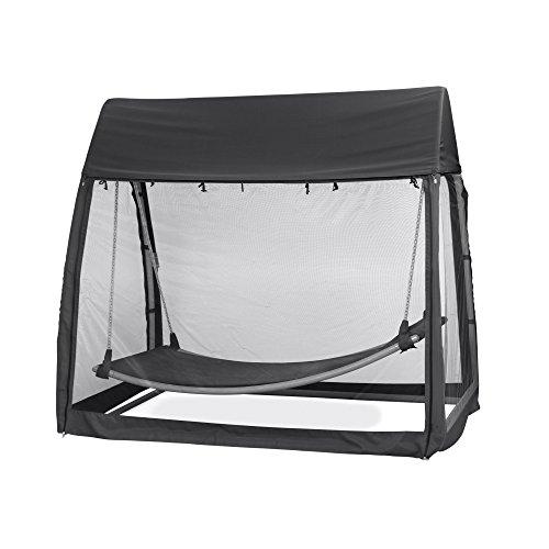 Siena Garden Hängematte Hängematte, 233x139x205cm, Gestell: Stahl, in silber, Fläche: Polyester in schwarz, Kissenbezug aus Polyester mit 300g/m² in schwarz