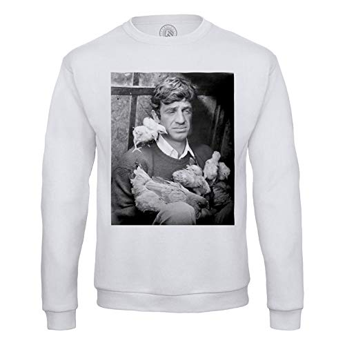 Fabulous Sweat Shirt Homme Jean Paul Belmondo Vintage Jeune Poussin Noir & Blanc