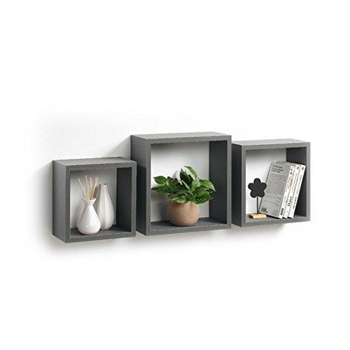 Modul'home 6ran789bc - mensole a cubo, in mdf, 11,8 x 30 x 30 cm, pannello mdf, grigio/antracite, 3 taglie 23 cm/26,5 cm/30 cm