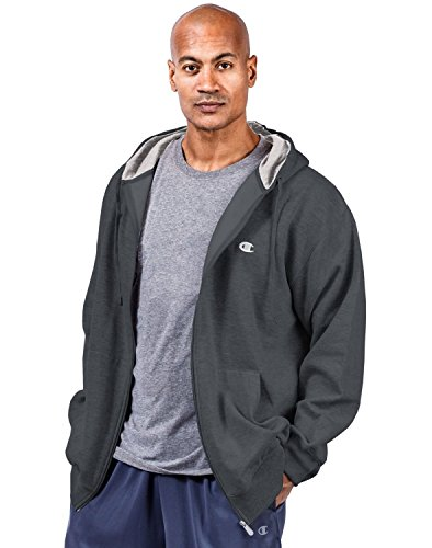 Champion Men's Big and Tall Full Zip Fleece Hoodie (Charcoal, 3XL) Full Zip Hoodie T-shirt