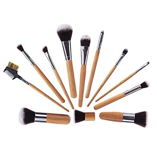 Sunroyal 12pcs Natural Vegan Make up Brushes Set Pro Cosmetics Kabuki Brush Kit - Extremely Soft Makeup Brush Set