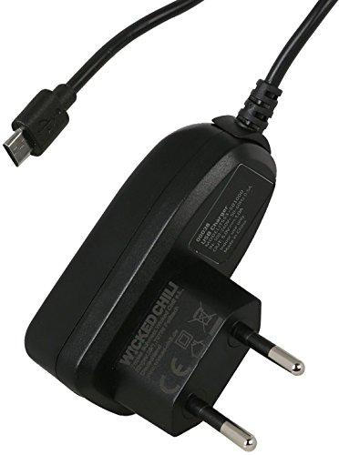 Wicked Chili Slim Netzteil / Reiselader für SanDisk Sansa MP3-Player CLIP ZiP / Fuze+ / Fuze Plus (100-240V, 1.000mA, microUSB Stecker, Slim Stecker) schwarz