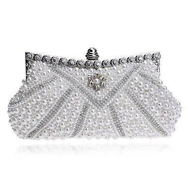 Frauen elegante Hochwertige Perle Diamanten Abend Tasche Black