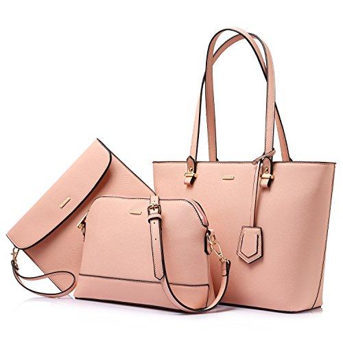LOVEVOOK Handtaschen Damen Schultertasche Handtasche Tragetasche Damen Groß Designer Elegant Ümhängetasche Henkeltasche Set 3-teiliges Set Rosa