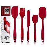 K-Home Juego de Espátulas de Silicona de Cocina - Resistente al Calor y Antiadherentes con Núcleo de Acero Inoxidable para Cocinar, Hornear y Mezclar (5 Piezas), Color Rojo