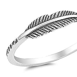 YSoutstripdu Fingerring, antiker Stil, Feder, geschmückt, für Damen, Ethno-Schmuck, Geburtstagsgeschenk, Schmuck