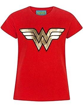 Wonder Woman Camiseta de Manga Corta Oficial Modelo Foil Logo Para Niñas