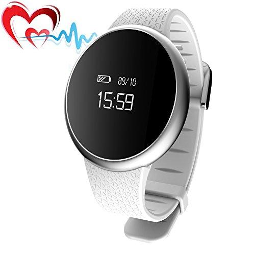 JoyFan Fitness-Tracker-Armband,  Bluetooth 4.0,Herzfrequenz-Monitor mit Schlafüberwachung, IP67-Wasserdichtigkeit;Smartwatch für iPhone 6, iPhone 7, Samsung S8und andere Android- oder iOS- Smartphones, damen, weiß