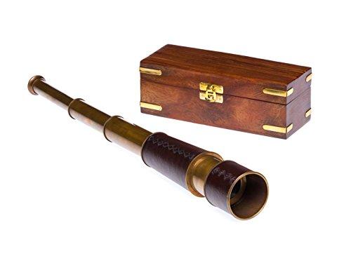 Fernrohr Messing 49cm mit Holzbox Maritim Teleskop Monokular Fernglas Antikstil