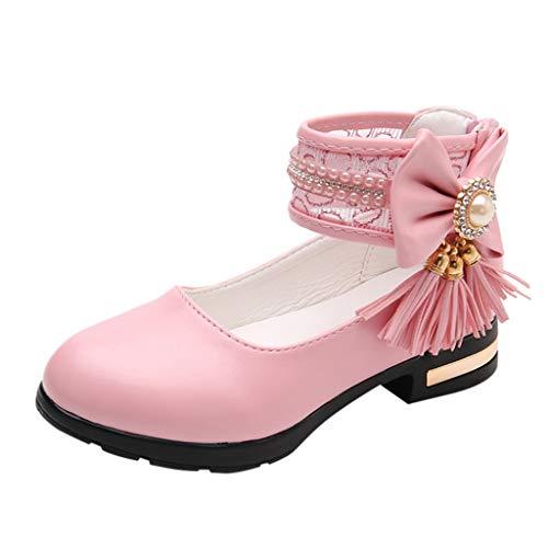 feiXIANG Sandalen Mädchen Schuhe Sommer PU Lederschuhe Baby Bowknot Prinzessinschuhe Kinder Wanderschuhe mit Absatz (Rosa,31)