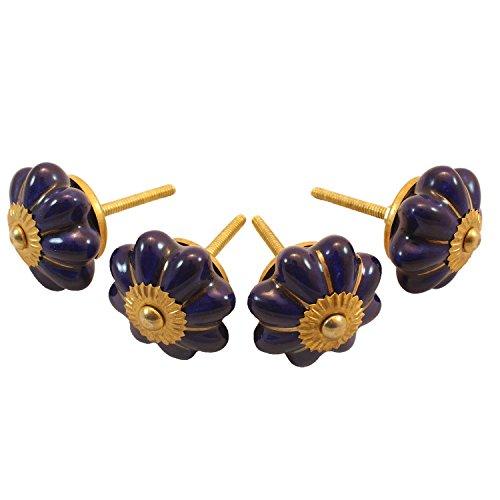 Stylla London® Lot de 4 Bleu Marine Peint à la Main en céramique Boutons de Porte Vintage Shabby Chic Armoire Armoire Poignées Boutons de Porte de tiroir