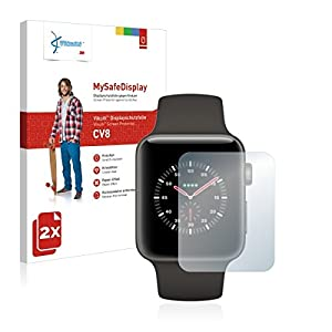 2x Vikuiti MySafeDisplay CV8 Displayschutz Schutzfolie für Apple Watch Edition Series 3 (38 mm) (Ultraklar, strak haftend, versiegelt Kratzer)