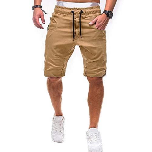 Mymyguoe Herren Shorts Fitness Sports Laufen Joggen Training Sommer Einfarbig Taille Männer Kurze Hose Herren Boardshorts Badehose Strand Männer Kurze Hose Surfshorts [A1-Cachi,XXXXL] (Champ Peoples T-shirt)