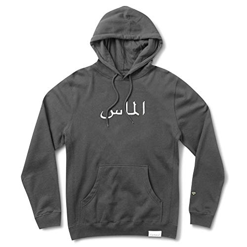 Diamond Supply Co. Men's Arabic Pigment Dyed Pullover Long Sleeve Hoodie Charcoal Gray M (Co Diamond Pullover Supply)
