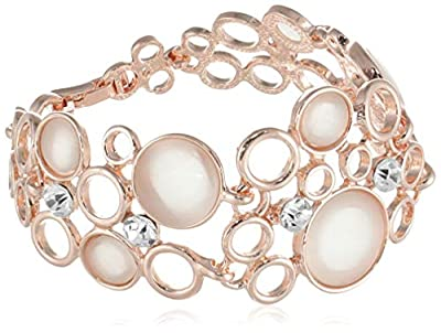 Yellow Chimes Exclusive Opal Collection Designer Combo Rose Gold Plated Bracelets and Earrings for Women and Girls