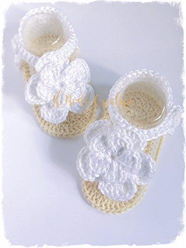 Infradito neonata uncinetto | scarpe bimba con fiore | scarpette o sandali in cotone neonata