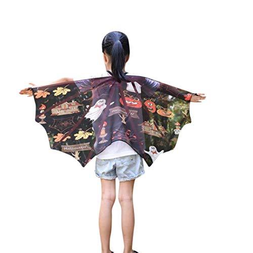 (SuperSU Kinder Jungen Mädchen Fledermaus Cartoon Print Cape Umhang Halloween Cartoon Print Flügel Schal Schals Poncho Kostüm Zubehör Gedruckt Chiffon Weiche Gewebe Cape Schal Poncho Wrap Kimono)
