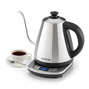 Klarstein Garçon Pro Bouilloire • Machine à thé • 1 litre • de 1850 à 2200 watts • Fonction de réchauffement • Réglage précis de la température • Boîtier en acier inoxydable • Argent