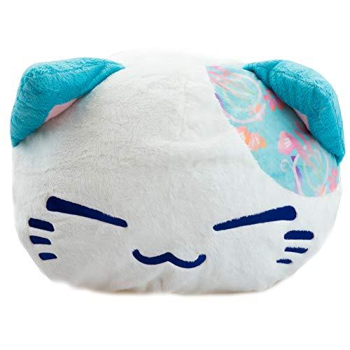 Meralens Nemu Neko Nemuneko Sleepy Cat Plüsch TüRkis Weiß 40 x 30 x 22cm Plüschtier Plüschfigur Plüschi Kuscheltier Katze