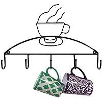 TY&WJ Soportes para tazas Rack Metálico 100% . Montado en la pared Café Cristal Soporte Rack secado Casa Cocina Restaurante Senior Soportes para tazas-Negro