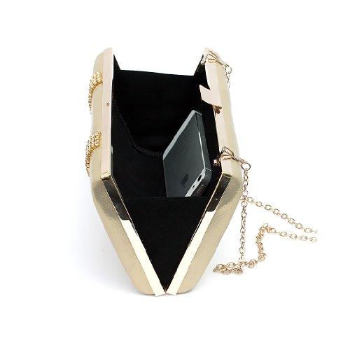 H:oter Frauen u. Mädchen Eleganz & Abschlussball-Partei-Abendhandtasche mit Kristall magischen Ring Griff, Handtasche, Geschenkideen - verschiedene Farben, Preis / Stück Gold