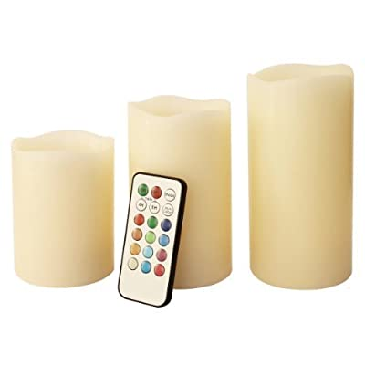 Frostfire Mooncandles Vanilla Scented Dripping Wax Colour Changing Candles with Remote Control, 4-inch/ 5-inch/ 6-inch