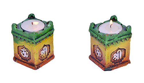 Handcrafted Terracotta Tulsi Pot style Tea Light Holding Diya pair for coffee table / doorway/ Wall Hanging Puja Decoration  available at amazon for Rs.191