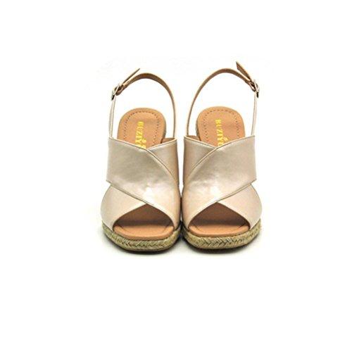 QPYC Sandali donna a punta quadrata Open Toe Slope Heel Cross Straps Openwork Corda di canapa Paglia Sandali Tacchi alti apricot