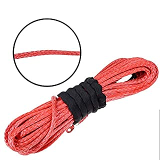 Asenart Winch Rope 50'x 1/4' Durable Dyneema Synthetic 6400Lbs Fastness Safe for SUV ATV UVT Pickup Truck