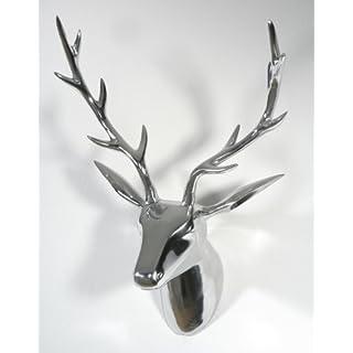 Artra Deko Geweih Hirschkopf silber (Größe: L) - Wandfigur, Wanddeko, Hirschgeweih, Hirschkopf, Geweih und Skulptur